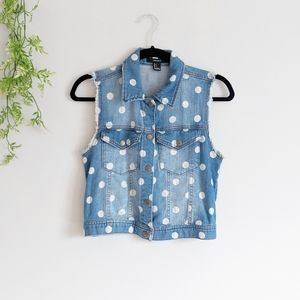 (F2) Blue Denim Cotton White Polka Dot Vest Small